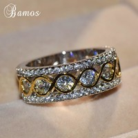 Bamos Exquisite Gold & Silver Color Promise Rings Personalized Infinity Ring Vintage Jewelry Luxury Wedding Bands For Women