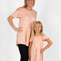 Mother/Daughter Rose Colored Cold Shoulder Top - Daughter
