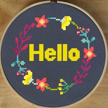 Modern Cross Stitch Pattern - Hello Flower Cross Stitch