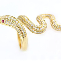 1.40ct Pavé Ruby & Diamonds in 14K Yellow Gold Serpent of Slytherin Snake Ring - CUSTOM MADE