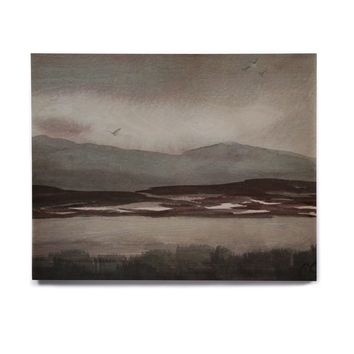 "Cyndi Steen ""Gray Landscape "" Gray Watercolor Painting Birchwood Wall Art"