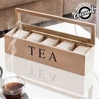 Vintage Coconut Wooden Tea Box