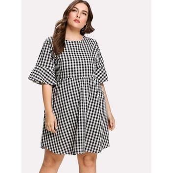 Plus Tie Back Gingham Dress
