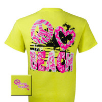 Girlie Girl Originals Peace Heart Beach Yellow Bright T Shirt