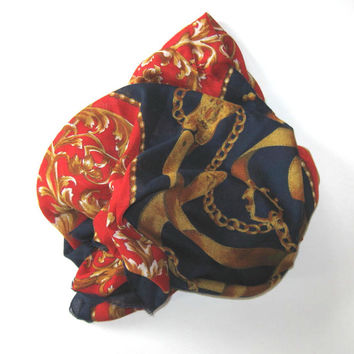 Large Italian Hermes Style vintage Scarf, Equestrian, Woman's accessory, Red and Navy, French Country