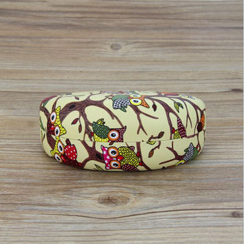 Leather Owl Print Sunglasses Case