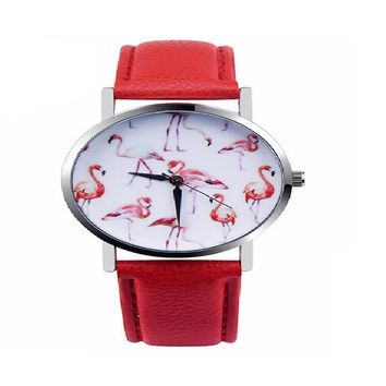 New Fashion Flamingo Printed Leather Strap Quartz Wrist Watch