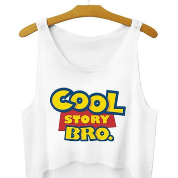 2015 fashion 3D tank top sexy girl print women vest sleeveless t-shirt cartoon women's tops tee Cool Story Bro Crop Top = 1956710788