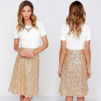 Shiny Women Champagne Christmas Skirt Knee Length High Waist A-Line Sequin Skirt Sexy Club Party Skirt Winter