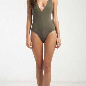 Deep V-Neck Triple Strap Bodysuit - Olive