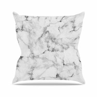 "Kess Original ""White Marble"" Gray White Outdoor Throw Pillow"