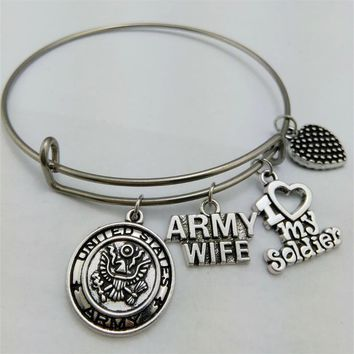 Army Wife Support Bangle Bracelet