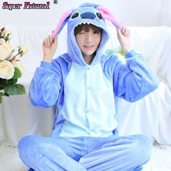 Kigurumis Cheap DHL Winter Blue Pink Adult Stitch Cheap  Boys Girls Couples Christmas Pajamas Onesuit Costume Footed Pyjamas