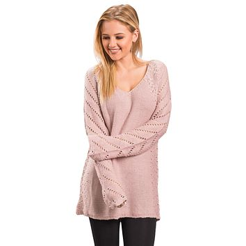 Blush Open Knit Sleeve Cutout V Neck Sweater