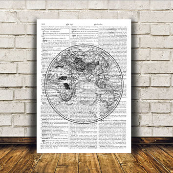Vintage print World map art Wall decor Antique poster RTA186