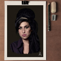 Amy Winehouse Portrait , Print, art poster, Dorm decor, Gift poster, Wall decor