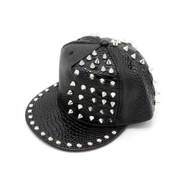 Leather Punk Hip-hop Korean Men Ladies Baseball Cap Hats [4917730116]