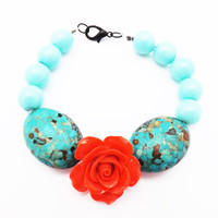 Mexican Vintage Inspired Beads and Red Rose Bracelet