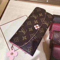 LV Louis Vuitton Stylish Women Leather Pink Four-Leaf Clover Buckle Wallet Purse I