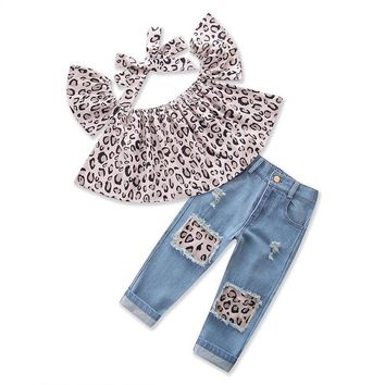 kids baby Girl Outfits Leopard Tops+Destroyed Jeans Pants+headband Clothes 3PCS
