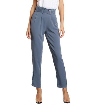 Fashion Pants Blue Pleated Tailored Pants , Zipper Women Elegant Work Trousers