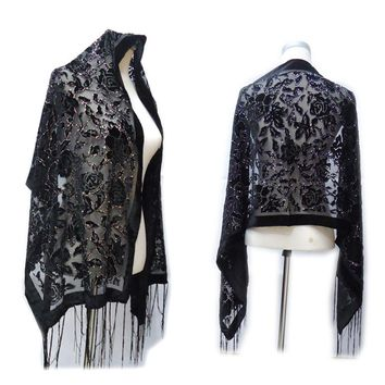 Fashion Black Silver Rose Burnout Velvet Winter Shawl