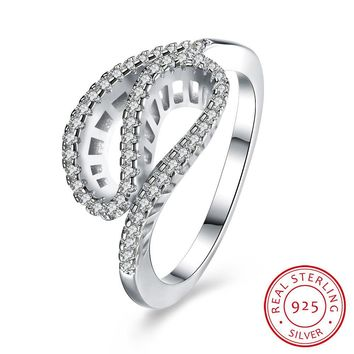 Women's 925 Sterling Silver Ring of Silk Banded Diamond Ring Jewelry