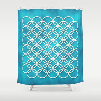 "Shower Curtain - 'Circles' - 71"" by 74"" Home, Decor, Bathroom, Bath, Dorm, Girl, Christmas, Gift, Ocean, Turquoise, Blue, Nautical, Beach"