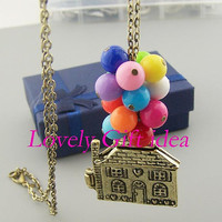 Up Necklace,colorful bead balloon jewelry Flying House charm,bronze chain,locket necklace.birthday graduation gift for kid bestfriend,girl