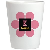 Trendy Pink Flower Monogram Shot Glass: Cool World Customized Gifts