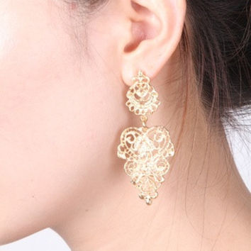 New Chic Fashion Women Silver Gold Earrings Bohemia Style Hollow Ear Studs Gift = 1705962180