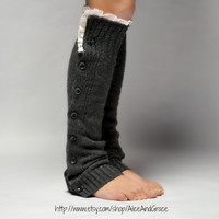 Button Charcoal Legwarmer Boot Sock  leg warmer