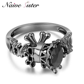 Fashion Punk Skull Rings For Women Black Color Men Biker Skeleton Bone Ring Trendy Party Copper Jewelry Gothic Style Mens Anillo