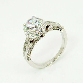 1.0CT Round Halo Engagement Ring, Wedding Ring, Promise Ring, Bridal Ring, Cubic Zirconia Ring, Sterling Silver Ring