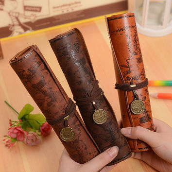 Hot Vintage Leather Pencil Case Bag for school Treasure Map Kid Party school supplies pencil cases Gift