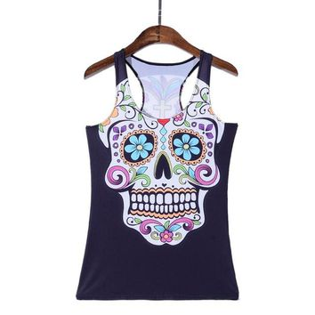 Running Vests Jogging Europe New 3D Sports Tank Tops Women Sexy Sleeveless T Shirt Clothes Elastic Yoga s Camisole Skulls Design S-4XL KO_11_1