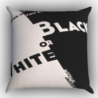 black and white michael jackson LYRIC Y0666 Zippered Pillows  Covers 16x16, 18x18, 20x20 Inches