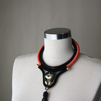 UTERUS II - Statement Necklace Third Eye Necklace Leather Jewelry Geometric Goth Necklace All Seeing Eye Gold Black Neon Coral