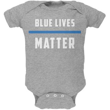 PEAPGQ9 Police Blue Lives Matter Thin Blue Line Soft Baby One Piece