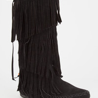 Adriana Mudd Womens Tall Fringe Moccasin Boots Black  In Sizes