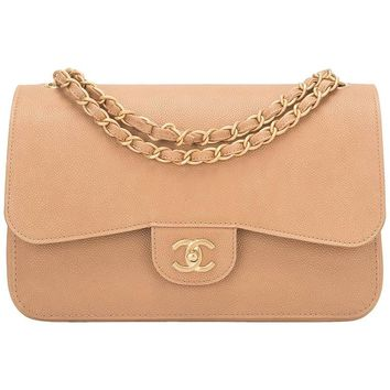 Chanel Beige Caviar Jumbo Classic Double Flap Bag