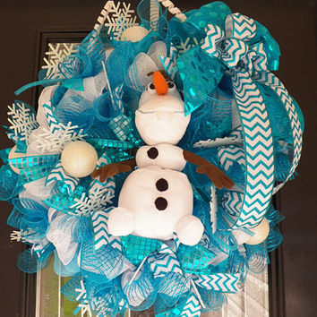 Christmas In July Sale Frozen Wreath with Olaf, Frozen Decoration, Frozen Room Decoration, Door Hanger