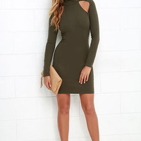 Turn of the Century Olive Green Long Sleeve Bodycon Dress