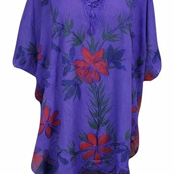 Mogul Interior Womens Boho Purple Tunic Caftan Printed Ethnic Beach Cover Up OneSize: Amazon.ca: Clothing & Accessories