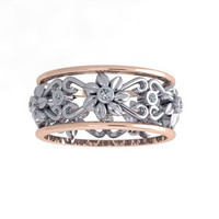 Floral-Leaf Wedding Band, Diamond Band, Engagement Ring, 14K Gold,  Wedding Ring, Right Hand Ring, RE00033