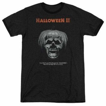 Halloween Pumpkin Poster Retro Ringer Adult T-Shirt