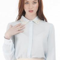 Crochet Blouse (Pale Blue)