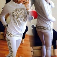 Versace Fashion Long Sleeve Sport Gym Set Two-Piece Top Pants Sportswear