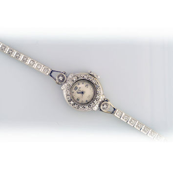 Diamond Antique 14K White Gold Watch with Elgin Movement