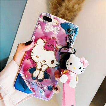cute Hello Kitty case For iPhone X XR XS MAX cover for For iPhone 6 6S plus 7 8 plus cases Cartoon phone cover+Toys+Strap case
